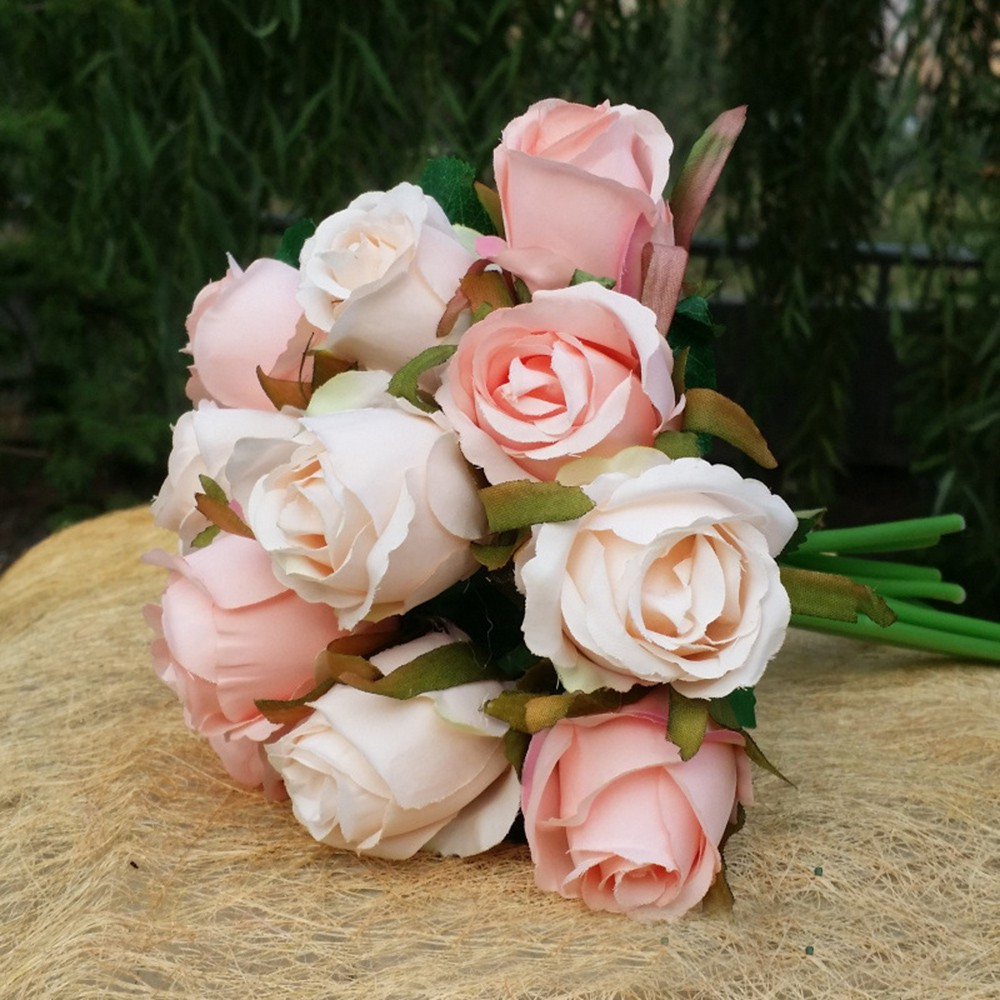 Kreasi Buket Bunga Tiruan Untuk Dekorasi Champagne Pernikahan Model Bunga Mawar Dengan Semak 12 Pcs Shopee Indonesia