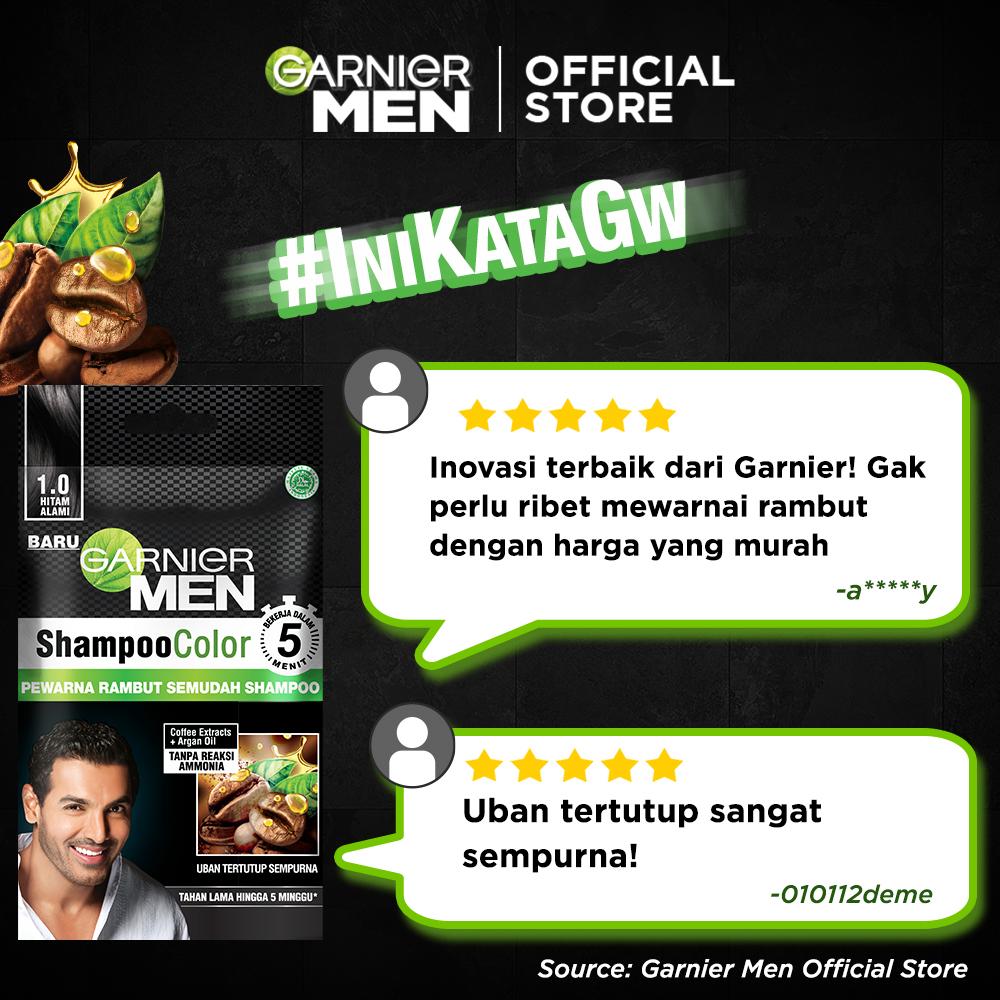 Garnier Men Shampoo Color (Pewarna Rambut Pria Semudah Shampoo)-1