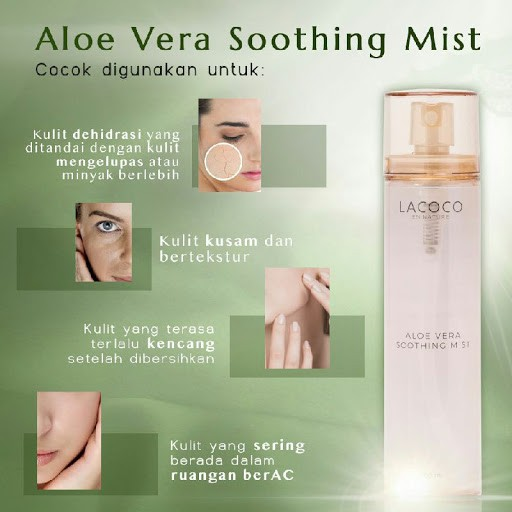 Lacoco Aloe Vera Soothing Mist ( Menenangkan kulit kemerahan, jerawat  meradang dan moisturizer ) | Shopee Indonesia