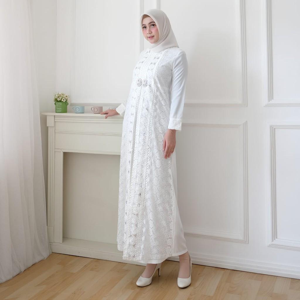 AGNES Gamis Putih Wanita Gamis Brukat Baju Muslim Wanita Busana Lebaran  Umroh Brokat Pesta #10