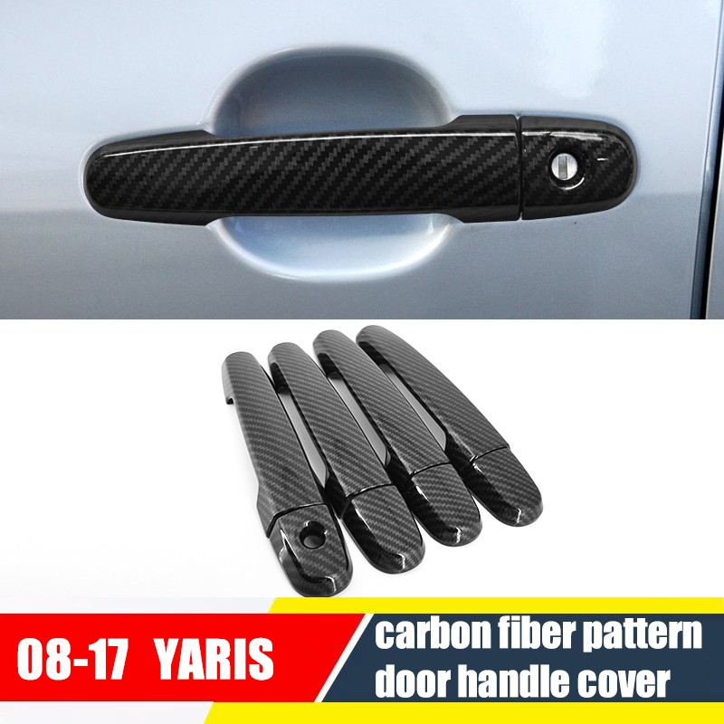 Cover Handle Pintu Mobil Motif Carbon Fiber Untuk Toyota Vios Yaris 2004 2017 Shopee Indonesia