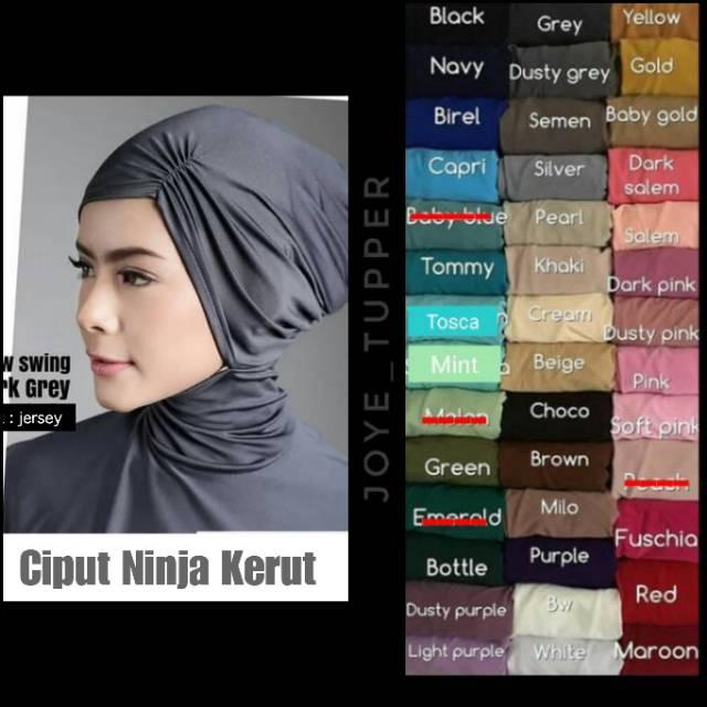Ciput Ninja Kerut Bahan Jersey | Inner | Ninja Antem kerut