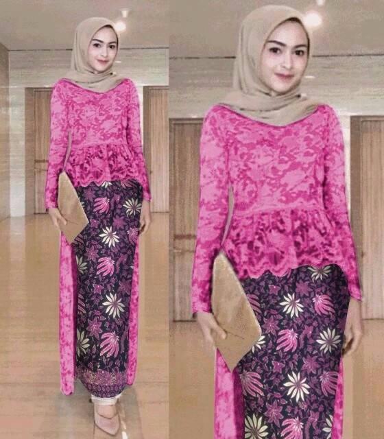 Flashsale Stelan Kebaya Batik Brukat Duyung Fenti Mix 6 Warna