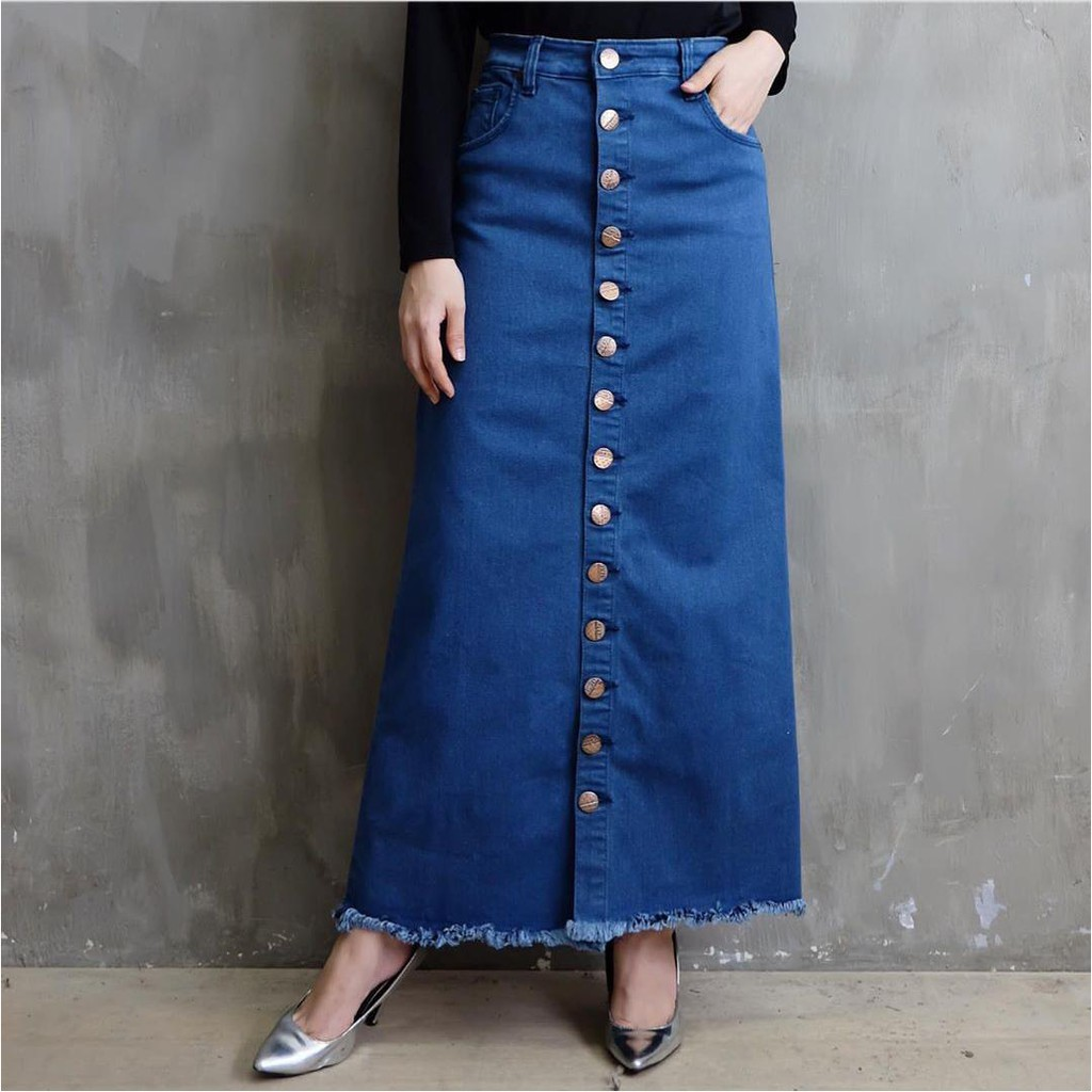 Rok rumbai jeans panjang / rok rawis jeans / rok jeans full kancing depan /  rok jeans kekinian | Shopee Indonesia