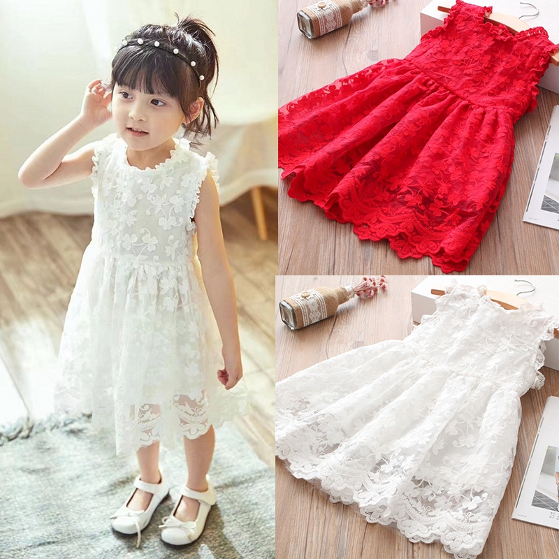 Baby Girl Dress Lace Embroidery Princess Girls Clothes Tutu Birthday Party Wear Wedding Dresses For 2 8 Years Old Girls Shopee Indonesia