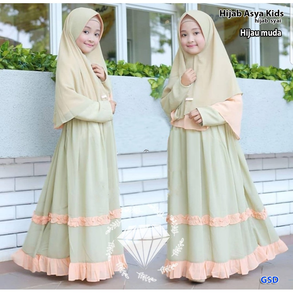 BEST SELLER !!! Maxi dress Muslim + hijab Anak Perempuan MOdel Baju Pesta  Muslim anak / HIJAB ASYA
