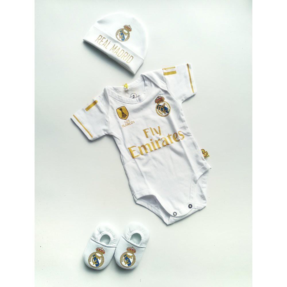 Set 3 In 1 Set Jumper Bayi Bola Real Madrid Topi Sepatu Newborn Jumpsuit Bayi Lucu Terlaris Limited