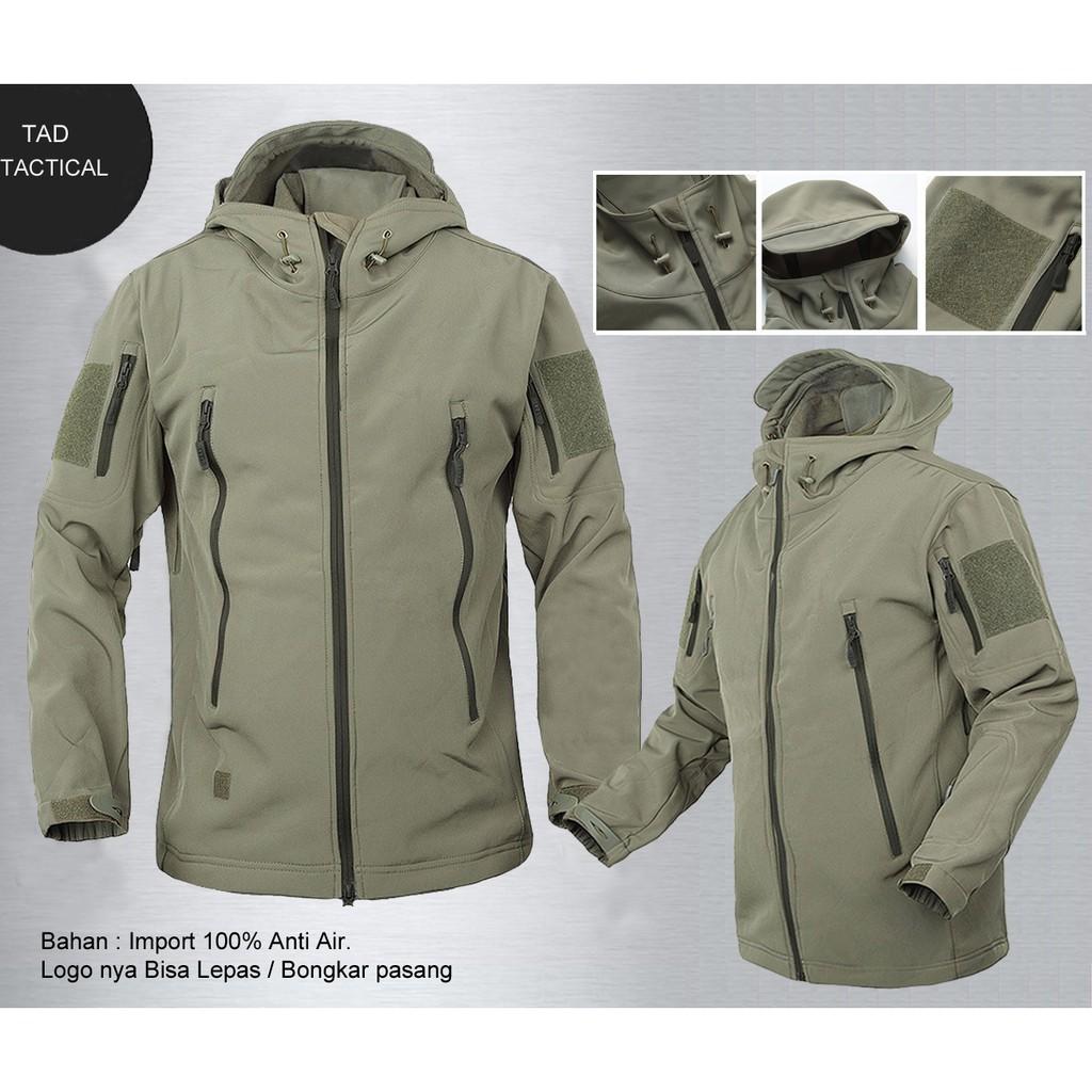 Jaket TAD Hijau Army Logo Merah Putih. Waterproof Anti Air. Bahan Import  95c76ab8ec