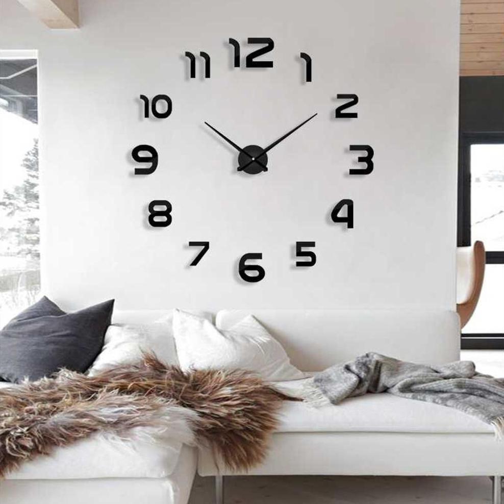 Jam Dinding 3d Minimalis Unik Dan Besar Cocok Untuk Ruang Tamu Diameter 80 130cm