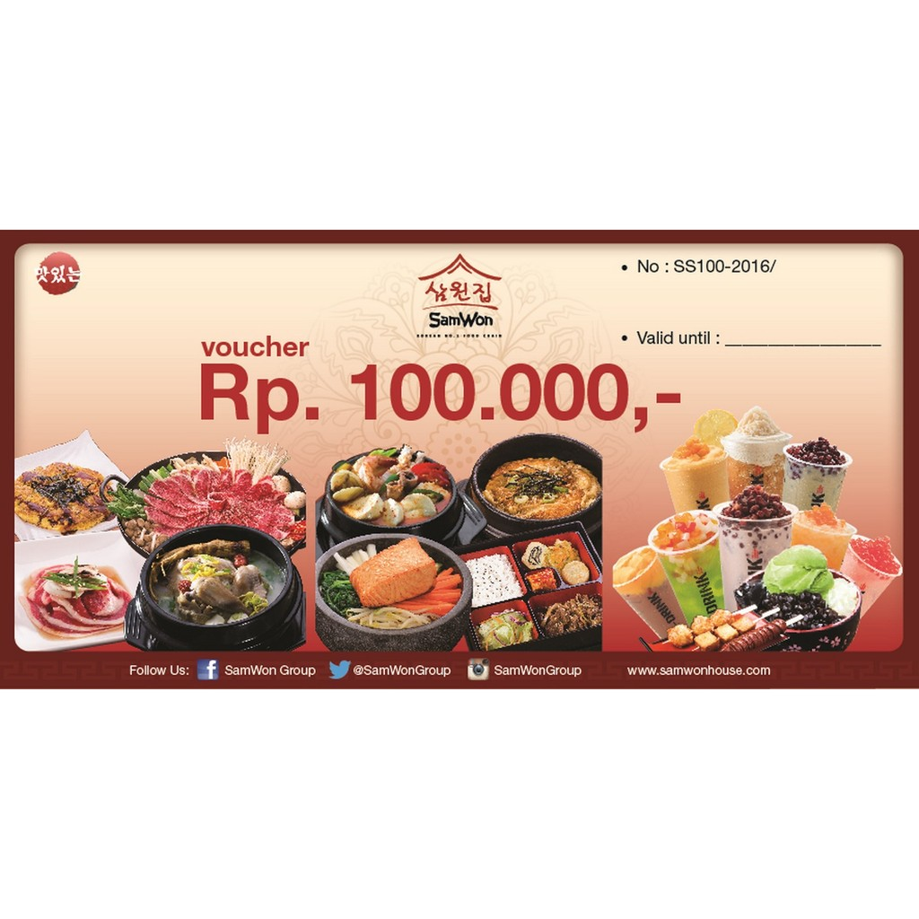 Voucher Rp 100 000 Samwon Restoran Makanan Korea Enak Lezat
