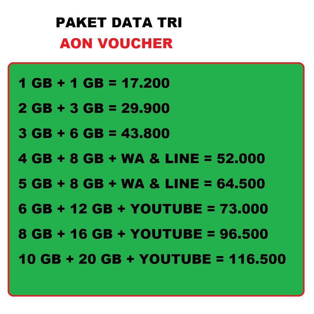 Three Kuota Data Paket Internet Voucher Tri Aon Murah Shopee Indonesia