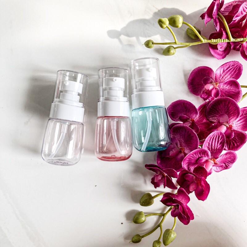 botol plastik 30ml pump lotion biru pink clear botol sabun shampoo conditioner kemasan isi ulang
