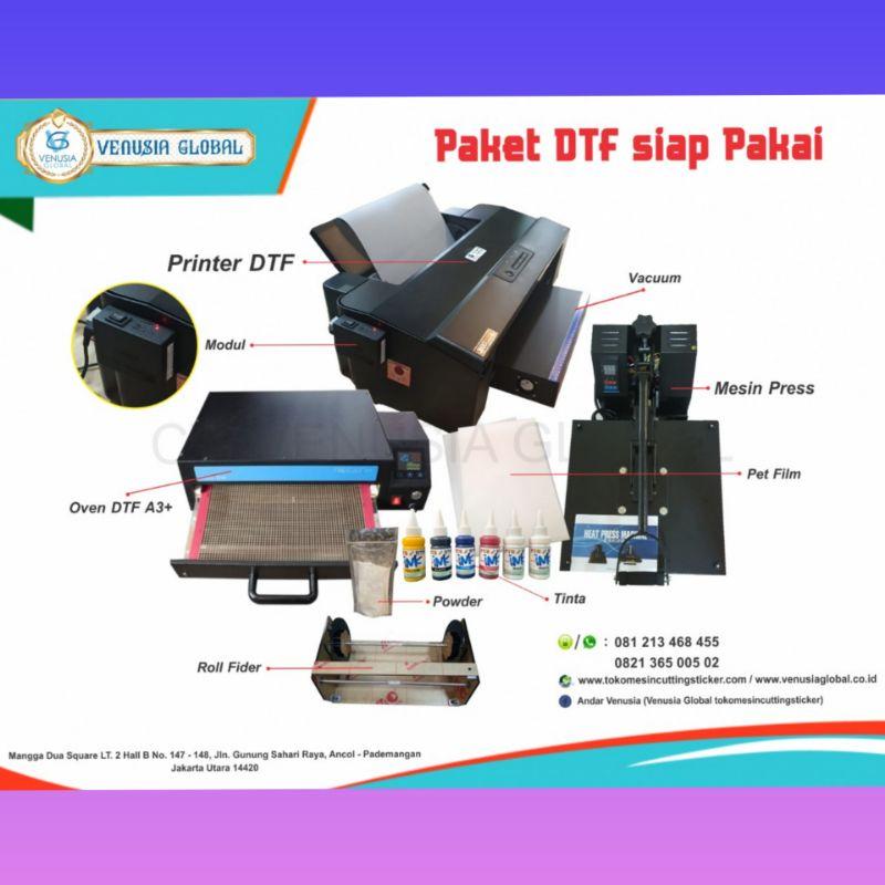Paket Usaha Sablon Print DTF A3 Roll Lengkap | Printer DTF CMYK-WW | Oven | Mesin Press Kaos