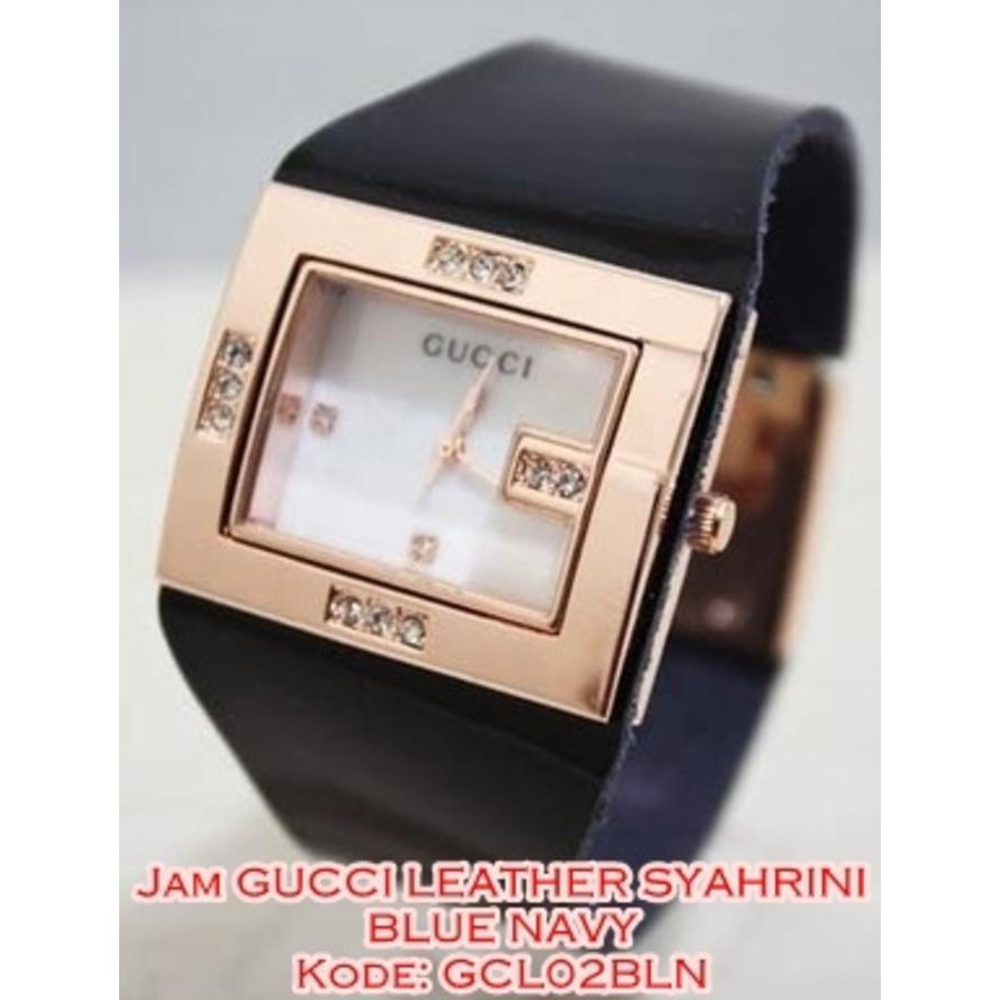 EXCLUSIVE GCL02 BLN JAM TANGAN WANITA GUCCI LEATHER SYAHRINI BLUE NAVY GCL02B | Shopee Indonesia