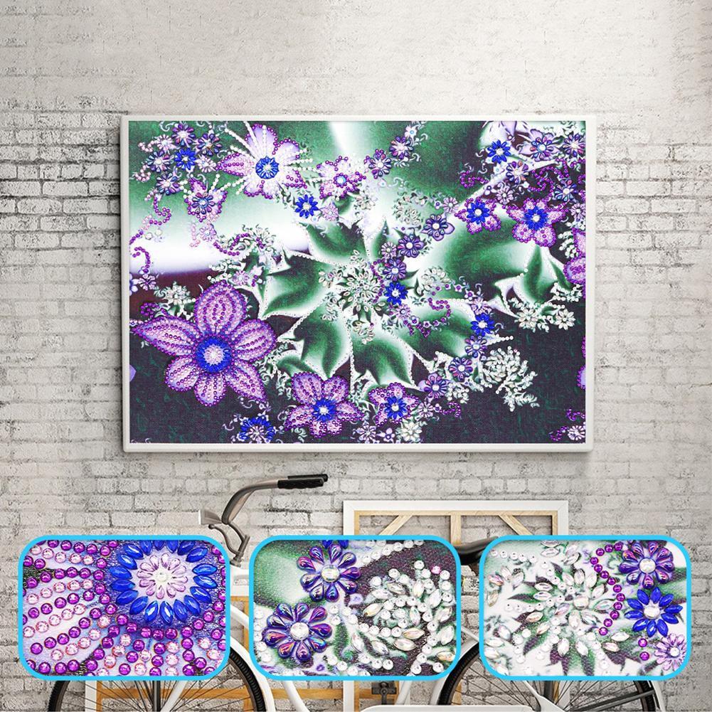 DIY Lukisan Diamond 5D Dengan Gambar Mozaik Bunga Untuk Hiasan Dinding Rumah