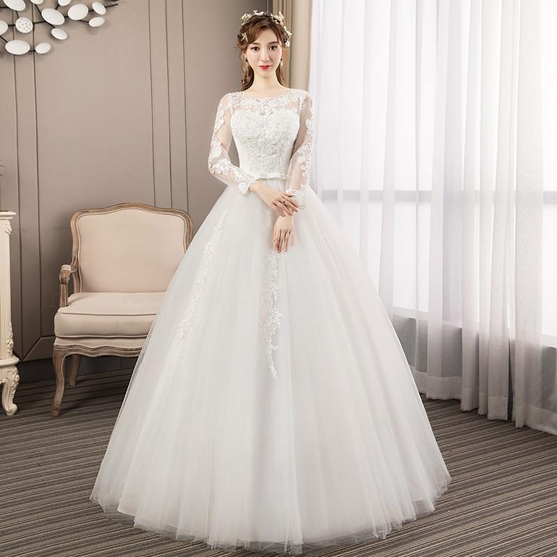 Gaun Wanita Lengan Panjang Dengan Hiasan Renda Warna Putih Dan Bordir Bergaya Elegan Untuk Pesta