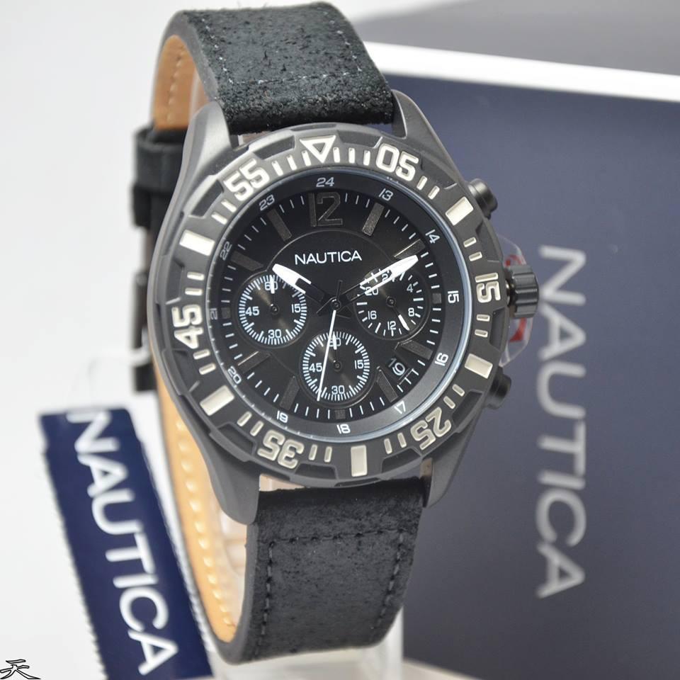 Jam Tangan Pria Nautica Nai17517g Silver Rantai Leather Kulit A20062g Strap Black Original Murah Shopee Indonesia