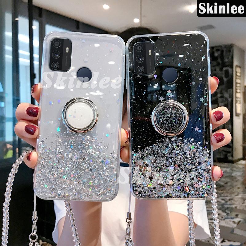 Skinlee Casing Soft Case Oppo A53 2020 Motif Langit Berbintang Glitter + Tali Lanyard