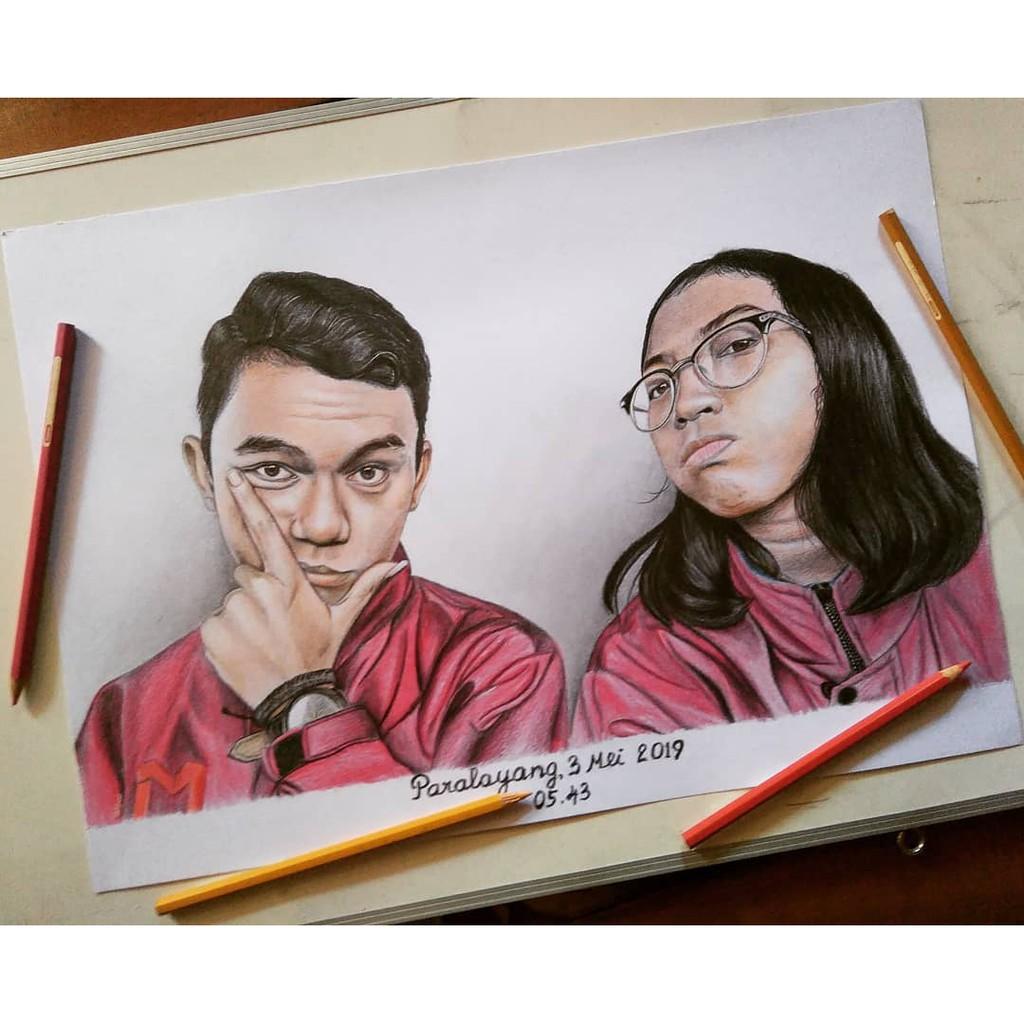 A3 Sketsa Wajah Kado Pacar Lukisan Pensil Warna Handmade Original Kado Pernikahan