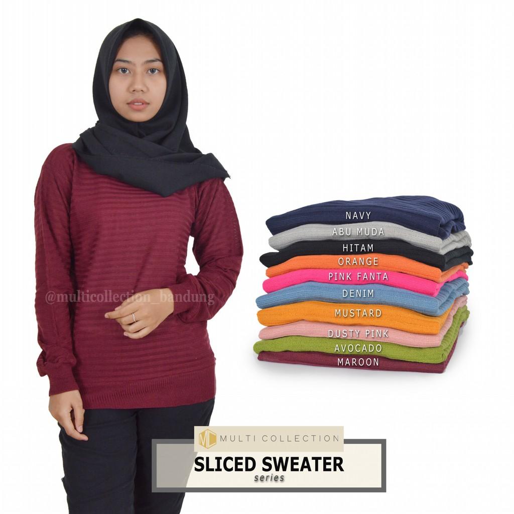 107731485d SLICED SWEATER - baju rajut korea - sweater rajut wanita - grosir pakaian  rajut - supplier rajutan