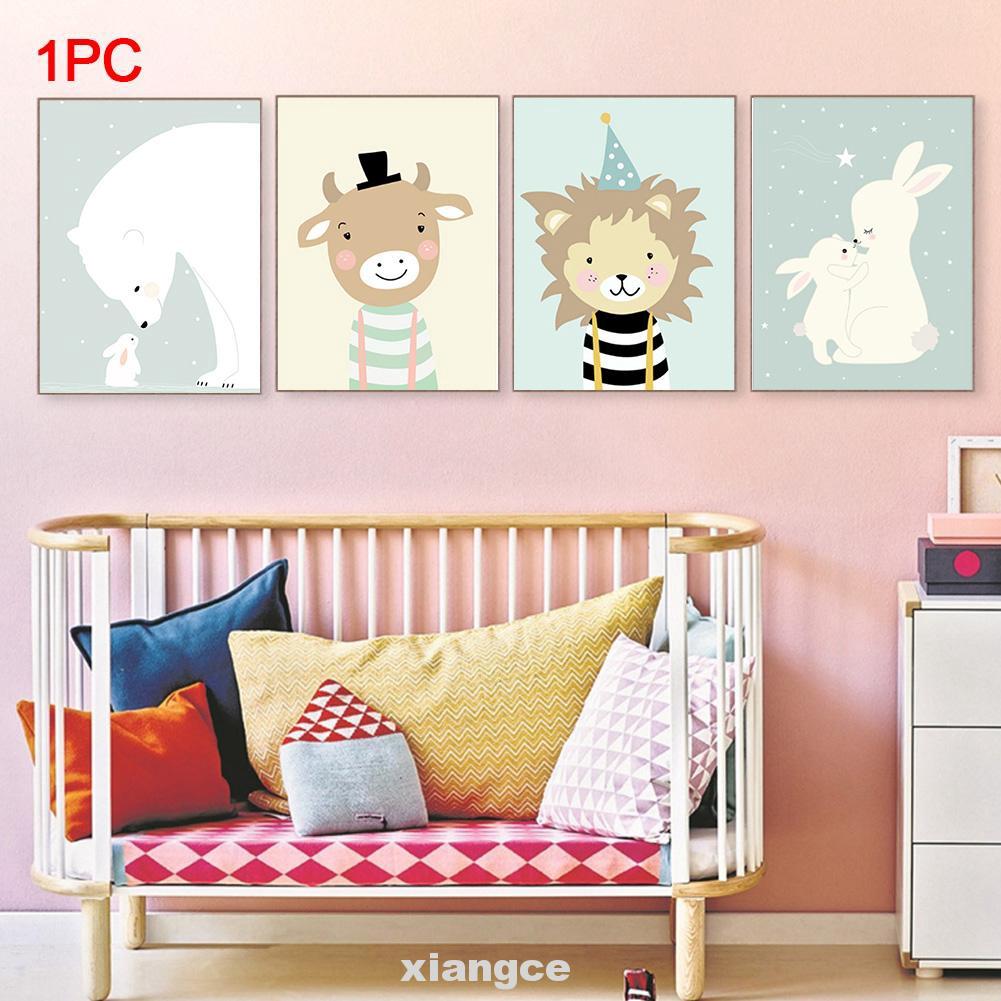 Art Bedroom Cartoon Animal Home Kids Room Modern Wall Decor Waterproof Canvas Painting Shopee Indonesia