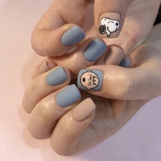 24 Kotak Stiker Kuku Palsu Motif Snoopy Warna Biru Muda Dapat Dilepas 2