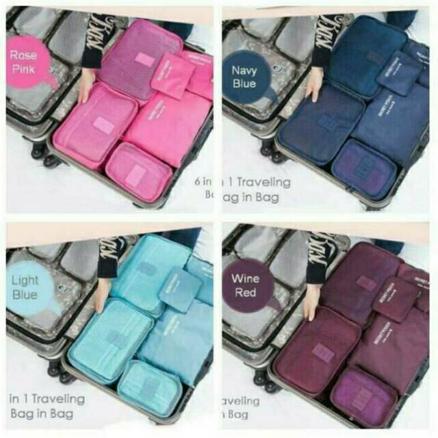 6 In 1 Travel Bag In Bag 1 Set Isi 6 Pcs Organizer