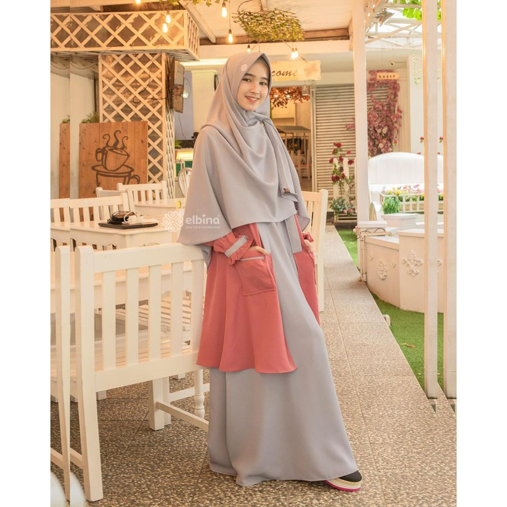 Gamis elbina Set Hijab + Outer