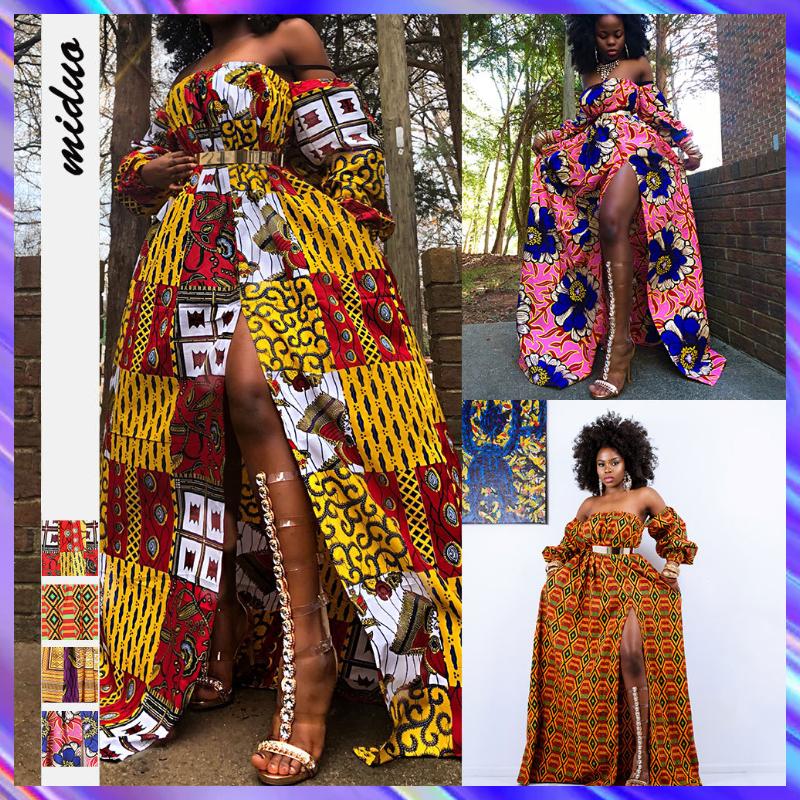 Gaya Afrika  Digital Printing  Pakaian Wanita  Lengan Panjang  Gaun  Boat Neck  Celah  Maxi Dress