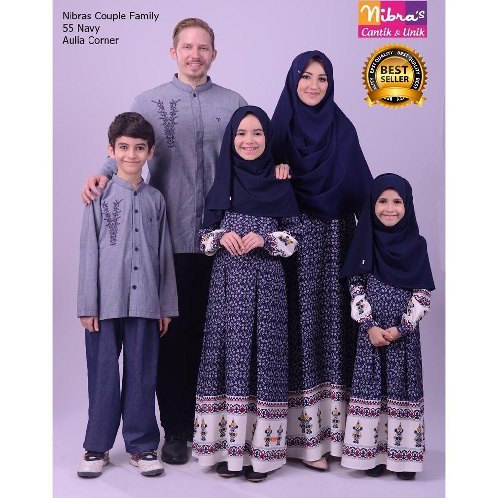 TERBARU MURAH Gamis Couple Keluarga Nibras Couple Family 12 Navy ORIGINAL  Baju Muslim Couple