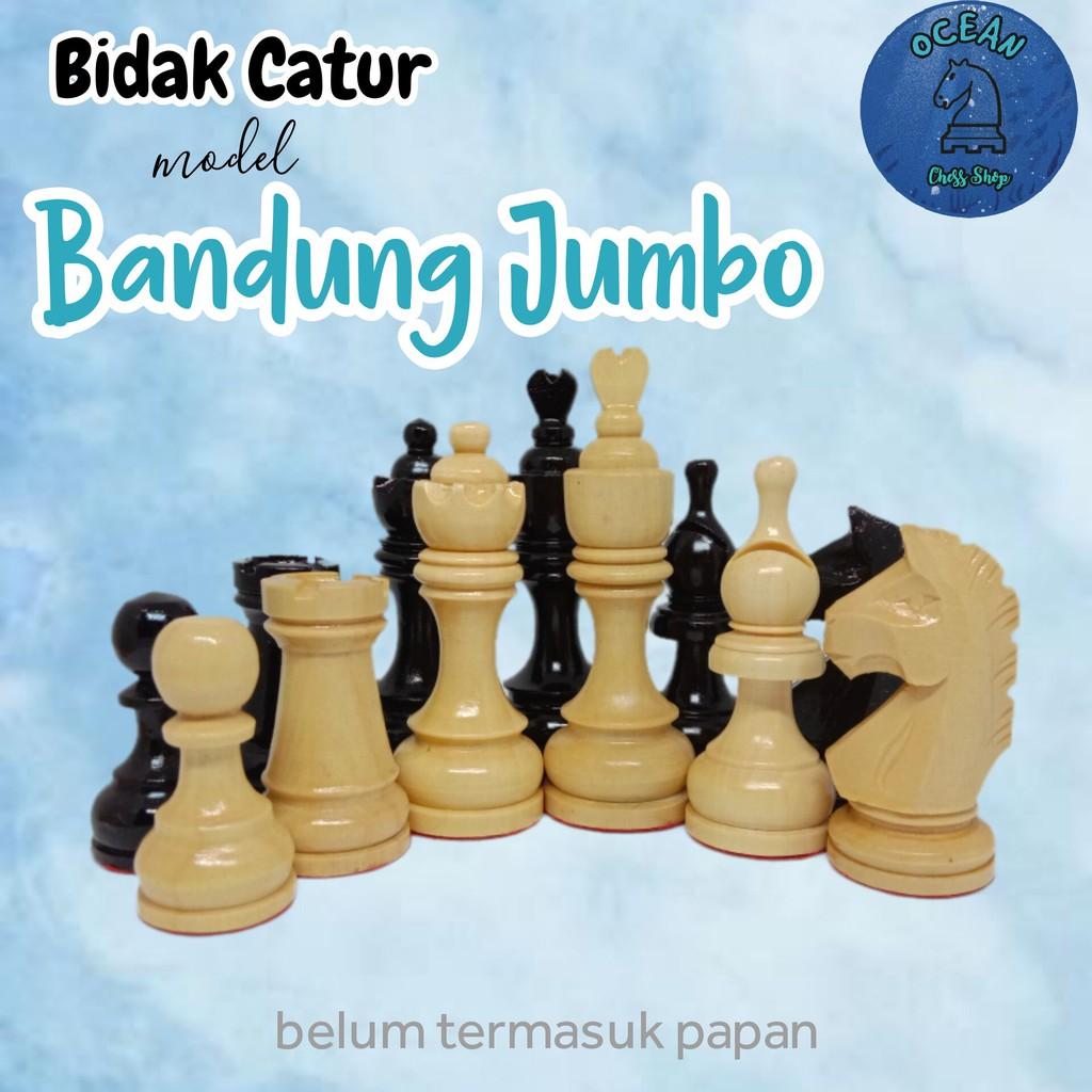 Bidak Catur kayu mentaos model Bandung Jumbo Premium (Standar Internasional)
