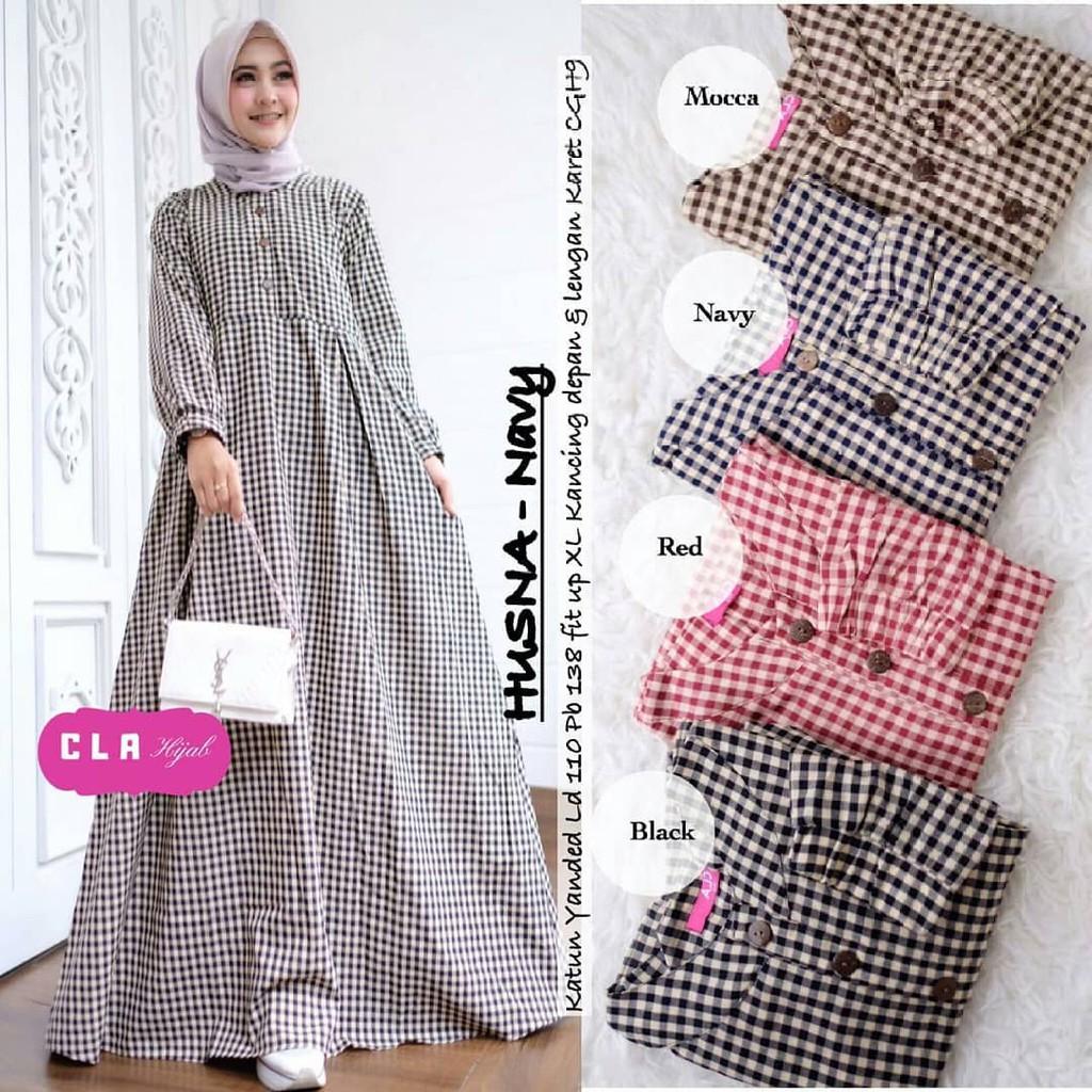 Baju Gamis Wanita Terbaru - Husna Dress Motif Kotak Kotak Murah Kekinian