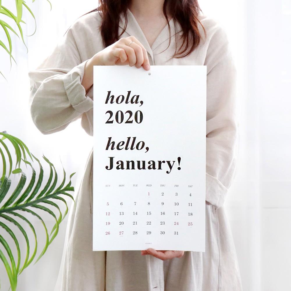 Kalender Gantung Model Iconic Korea Warna Hitam Putih 2020