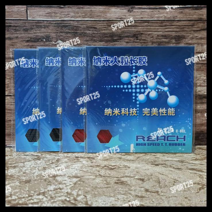 Karet / Rubber Pingpong Bintik Panjang Reach C801 C 801 Ox Original - Merah