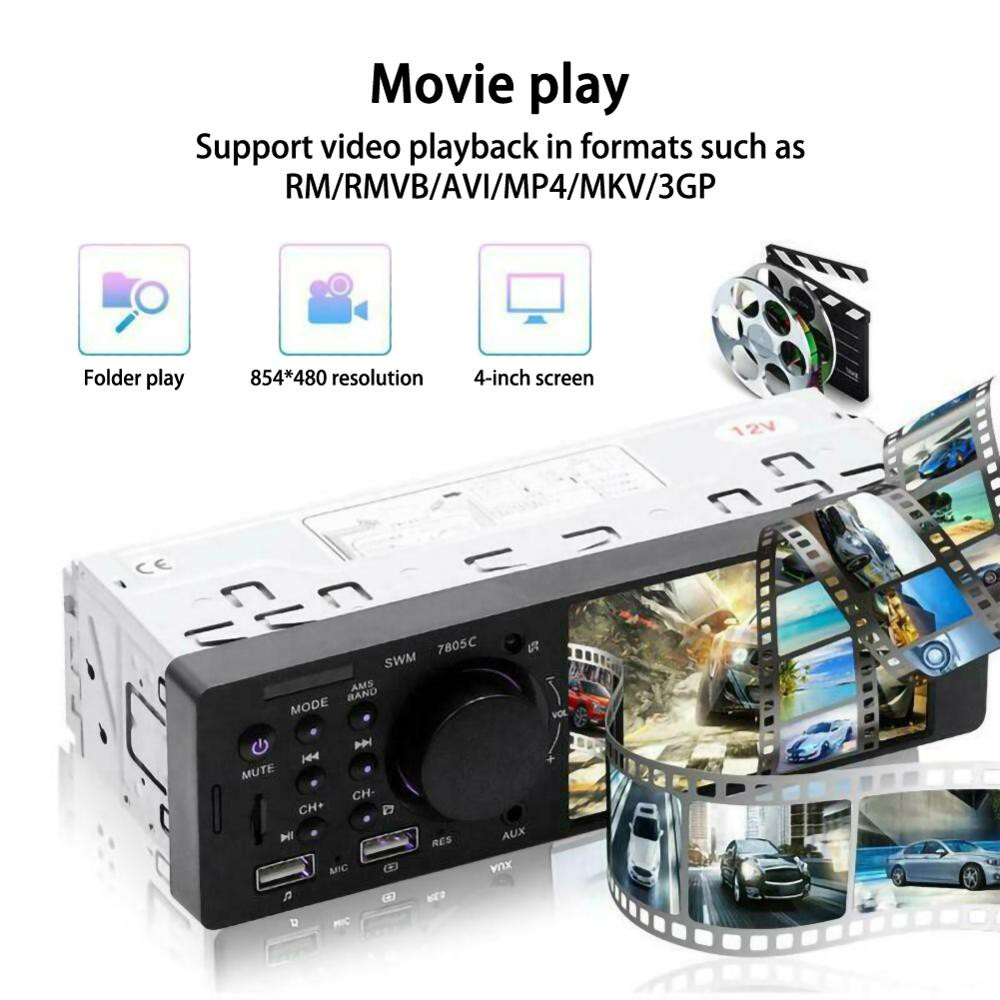 "4.1/"" 1DIN Car In-Dash MP5 Player Stereo Auto Radio USB AUX Bluetooth"