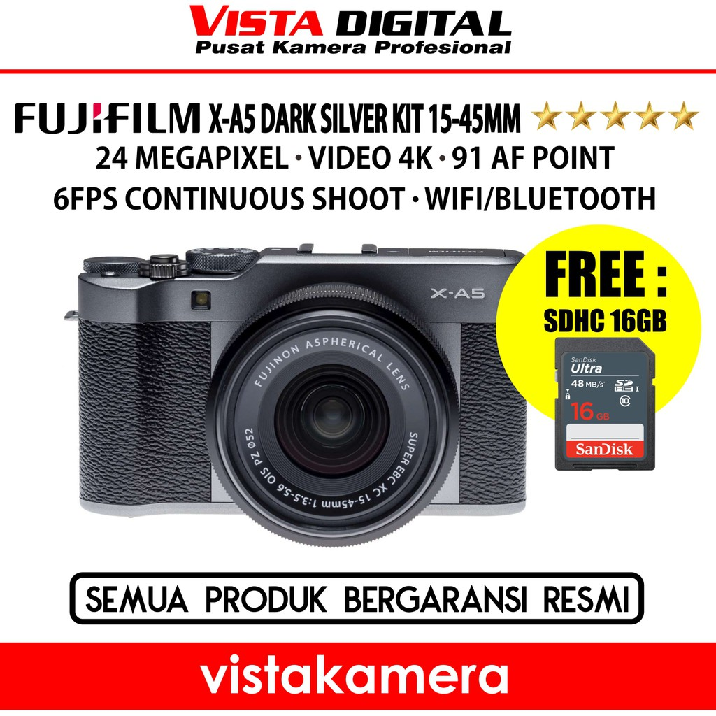 Fujifilm X A5 Xa5 Kit 15 45mm Dark Silver Garansi Resmi Shopee T100 Instax Mini 8 Free Sdhc 16 Gb Tas Sirui Sling Bag Black Indonesia