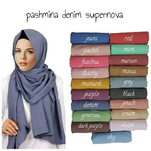 Pashmina Katun Polos Supernova Shopee Indonesia