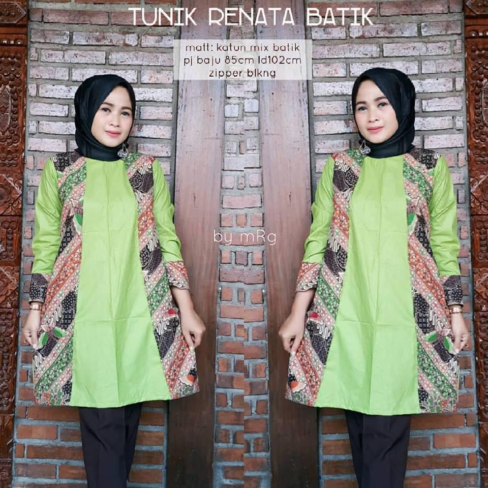 64 Desain Baju Batik Wanita Kombinasi Polos | Desaprojek