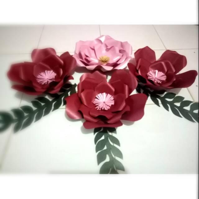 Paper Flower Bunga Kertas Jasmin Dekorasi Hiasan Dinding Acara Lamaran Backdrop Background Shopee Indonesia
