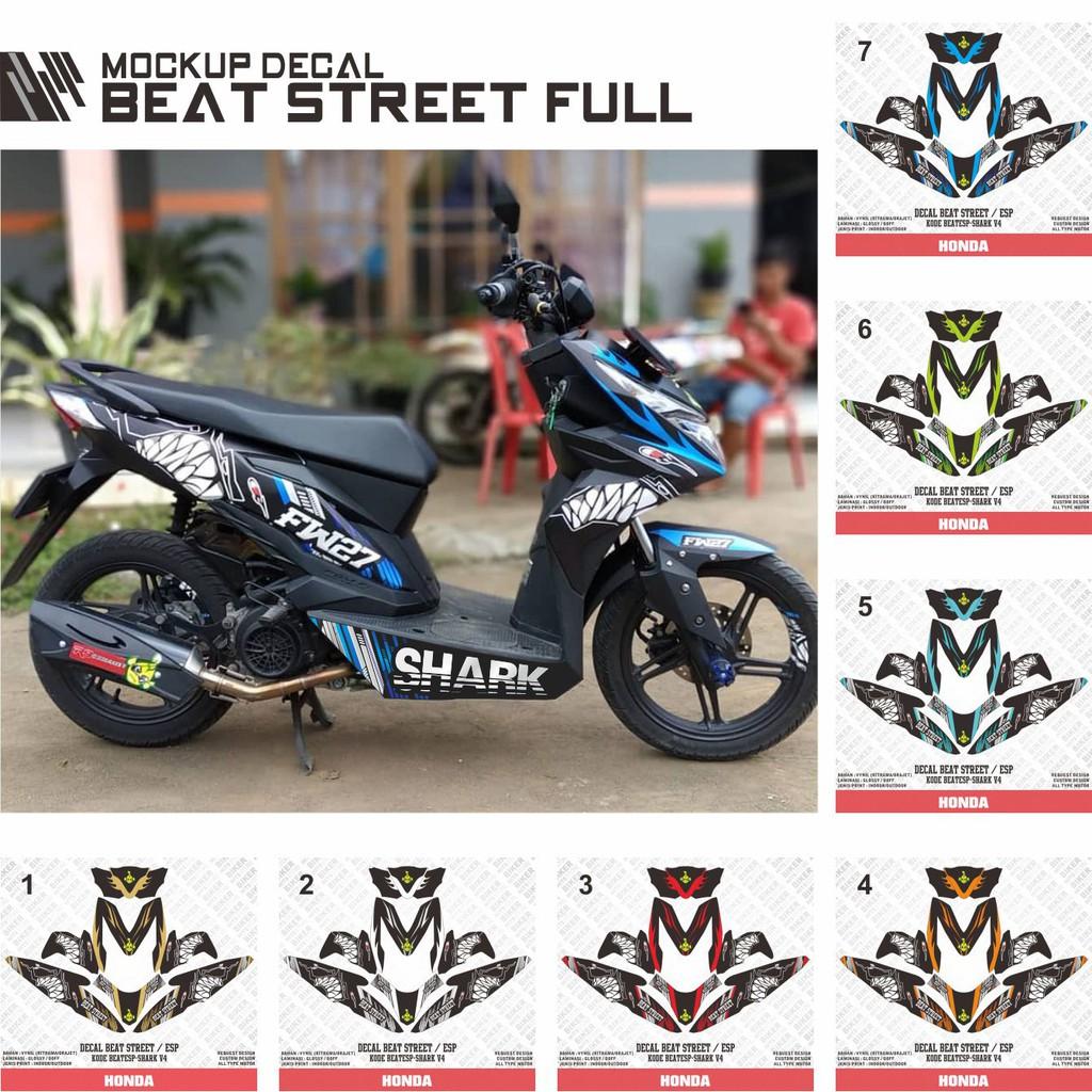 Decal Stiker Motor Honda Beat Esp Beat Street Shark Hitam Gigi Hiu Shopee Indonesia