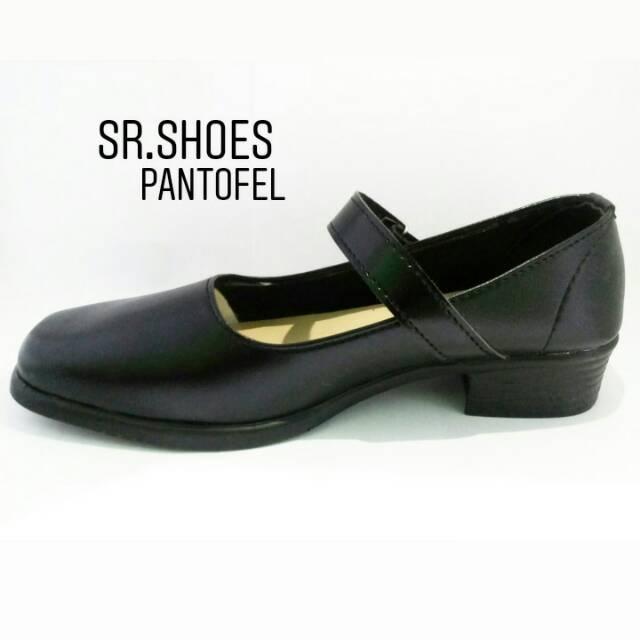 Sepatu Pantofel Wanita Paskibra Pdh Sekolah Hitam Bertali Shopee
