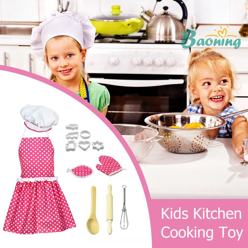 Kids Kitchen Accessories >> 13pcs Kids Pretend Chef Role Play Set Dress Up Costume Kitchen Accessories