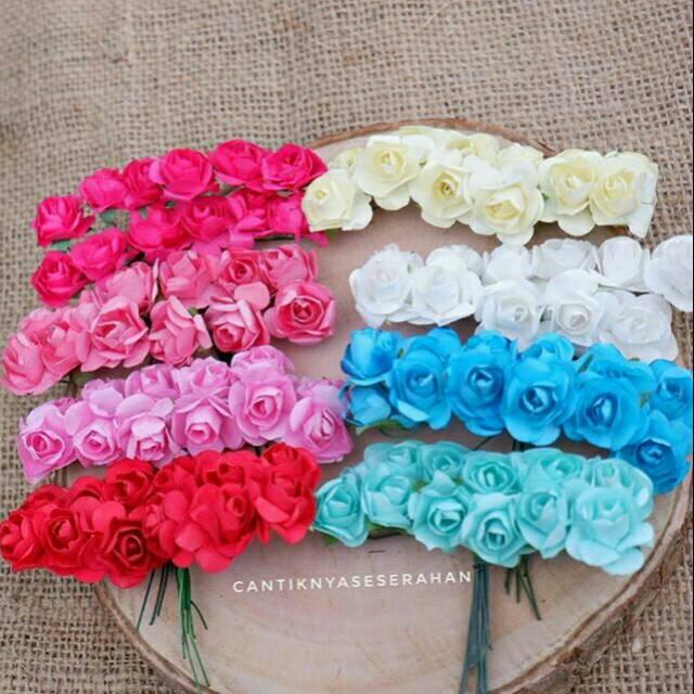 Bunga Mawar Kertas Mini Shopee Indonesia