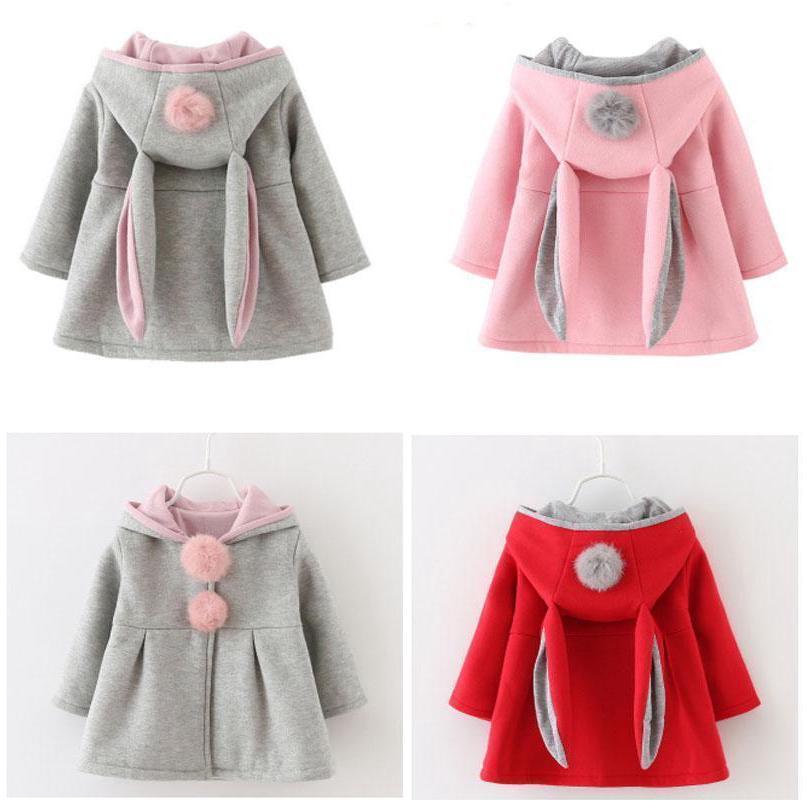 Jaket Hoodie Telinga Kelinci Bahan Fleece dengan Kancing untuk Anak Perempuan | Shopee Indonesia