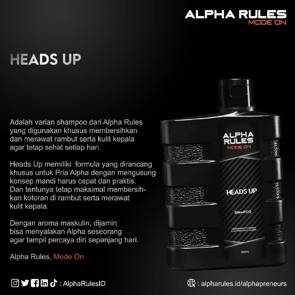 ORIGINAL Alpha Rules Heads Up 250 ml Shampo rambut anti ketombe pria bersih-4