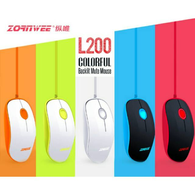 Mouse Zornwee Komputer / Laptop USB Colorful Silent Click | Shopee Indonesia