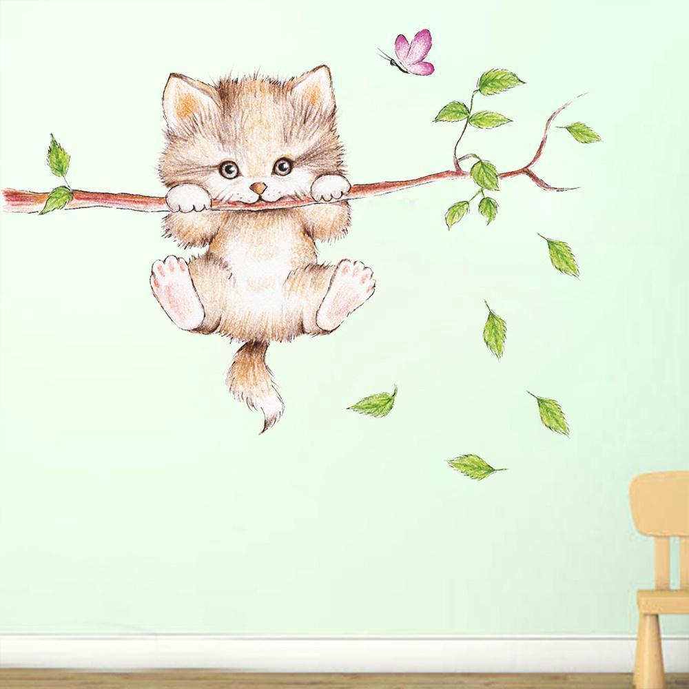Stiker Dinding Desain Kucing Lucu Untuk Ruang Tamu Kamar Tidur