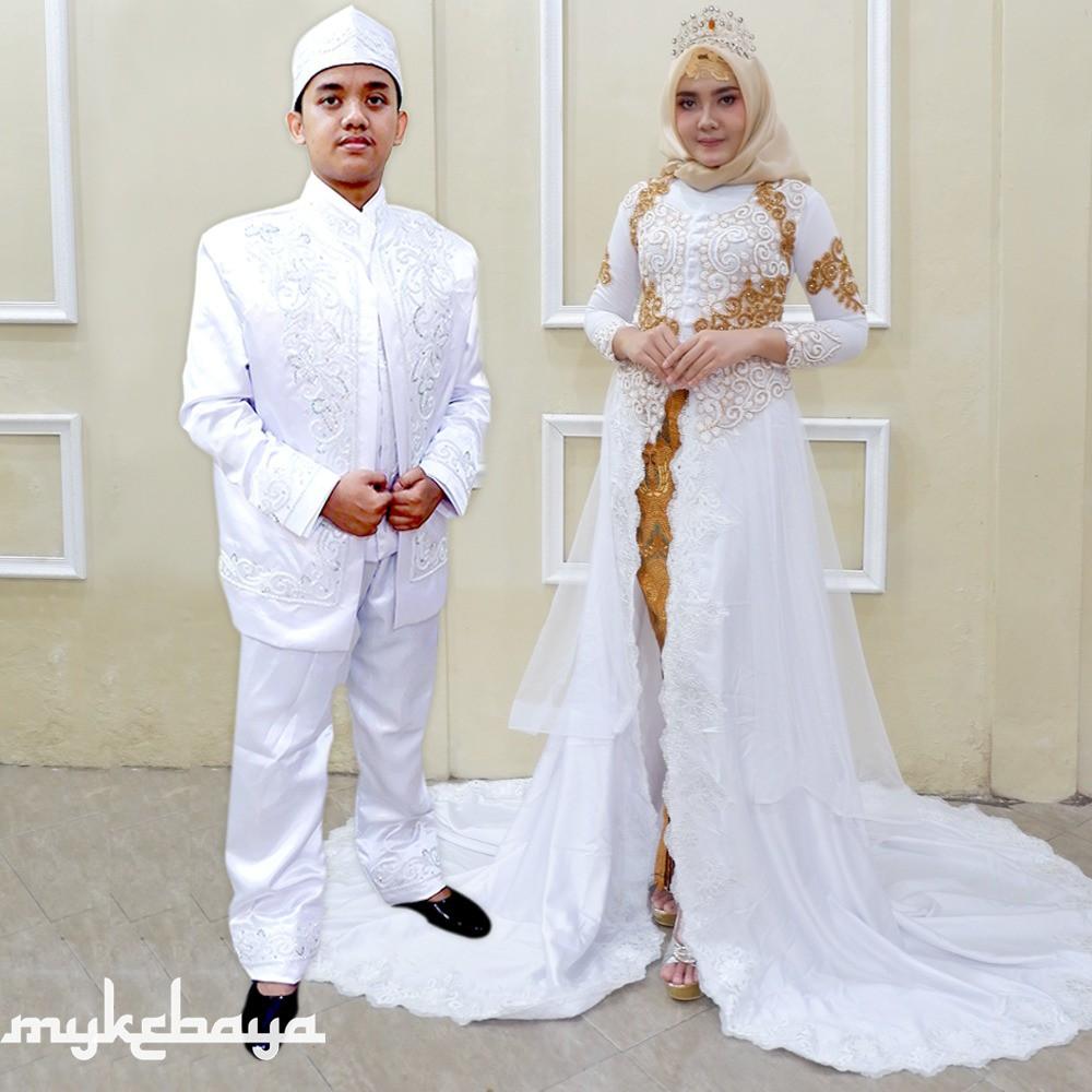 Murah Banget Kebaya Couple Pengantin Ready Ekor Satin Cantik Kebaya Modern Wedding Dress
