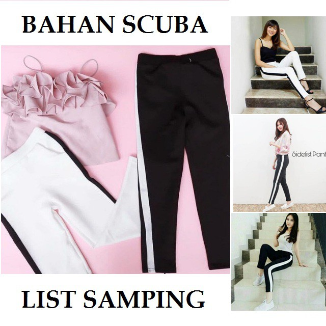 Jual Leggings Celana Michellestore Legging Super Stretch List Samping Bahan Scuba Murah Wanita Conoone
