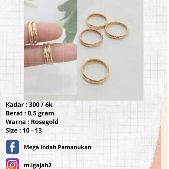 [ART. 292] Cincin Emas asli murah 0.5 gram 300/6k